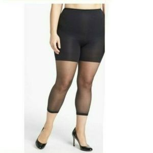 Spanx Footless Higher Power Capri Black Sheer Plus
